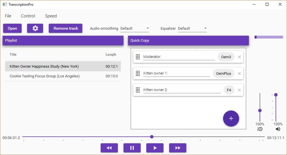 Transcriptable Main Window Screenshot